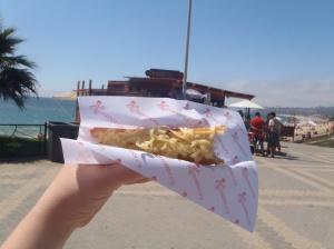 Churros de queijo na beira do mar. Ô diliça!